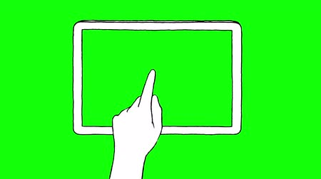 desenhada à mão : Hand drawn touch screen gestures on a tablet with green screen  Stock Footage