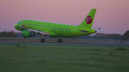 hava otobüsü : S7 Airlines Airbus A320 airliner landing on the runway at Tolmachevo airport. Novosibirsk.
