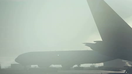 being prepared : Airliners being prepared for flights in the sick mist. Stock Footage