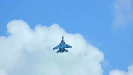 lutador : Su-27 Sukhoi jet fighter performing aerobatic flight at the airshow near Novosibirsk. Stock Footage