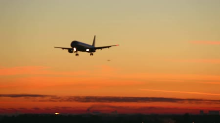 tourism : Jet airliner approaching airport at dawn.