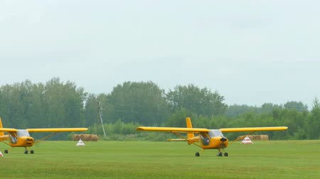 aerodrome : Aeroprakt A-22 light aircrafts on airfield