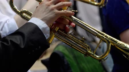 saxofonist : Muzikant die de trompet speelt, close-up