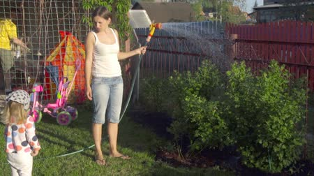 borrifar : Woman watering the lawn Stock Footage