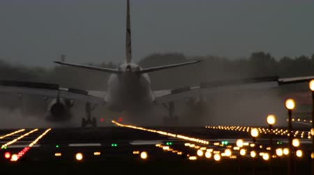 taking flight : Airplane landing at the early morning