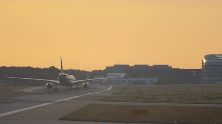 fraport : Airplane landing at the early morning
