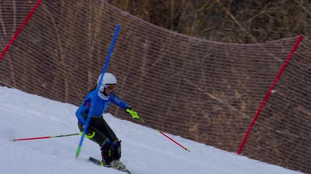skier : Young woman skier in training race