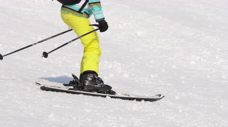 ski boots : Amateur skier girl downhill