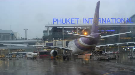 lights up : Rainy weather at Phuket airport Stock Footage