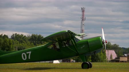 aerodrome : Yakovlev Yak-12 aircrafts on airfield