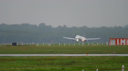 lufthansa : Airplane landing at rainy weather