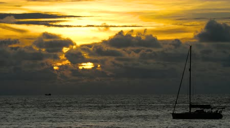 iatismo : Yacht in the tropical sea at dramatic sunset