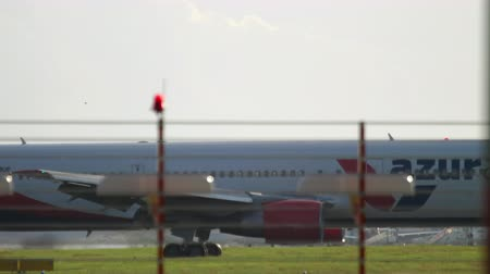 dusseldorf : Airplane taxiing after landing Stock Footage
