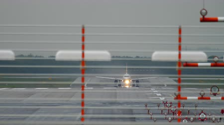 dusseldorf : Airplane departure at rain