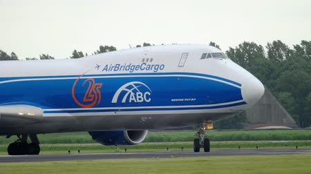 airbridgecargo : AirBridgeCargo Boeing 747 taxiing before take-off Stock Footage