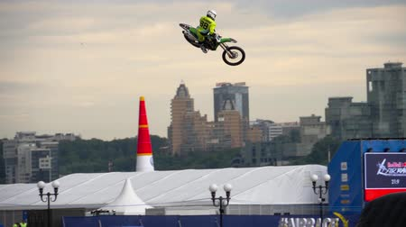 motorcycles : Motofreestyle - jumps with incredible acrobatic elements Stock Footage