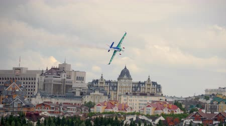 авиашоу : Racing airplane at the stage