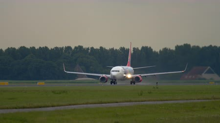 ams : Corendon Boeing 737 accelerate before departure Stock Footage