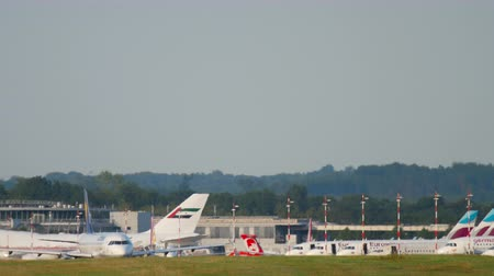 dusseldorf : Airplane taxiing before departure