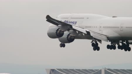 fraport : Airplane landing in Frankfurt Stock Footage