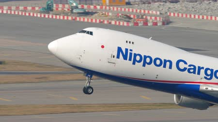 lotnisko : Nippon Cargo boeing 747 departure from Hong Kong Wideo