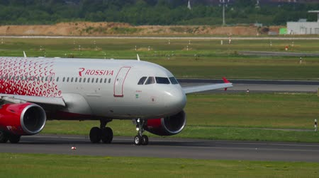 dusseldorf : Airbus A319 Rossiya taxiing before departure Stock Footage