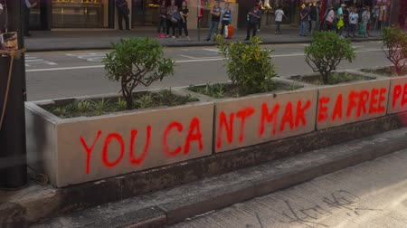 democracia : Prints of slogan on road of Hong Kong