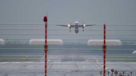 dusseldorf : Turboprop airplane departure from Dusseldorf