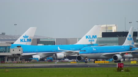 kolejka : KLM Airbus A330 taxiing after landing