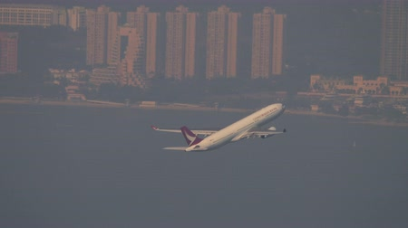bilet : Airplane departure from International Airport, Hong Kong Stok Video