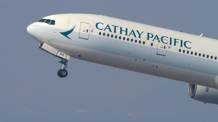 command : Cathay Pacific Boeing 777 departure from Hong Kong Stock Footage