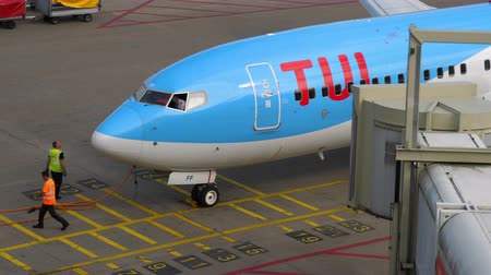 ams : TUI Fly Boeing 737 taxiing end Stock Footage