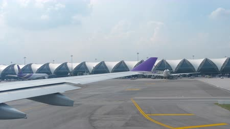 Airplane taxiing in Suvarnabhumi airport, Bangkok