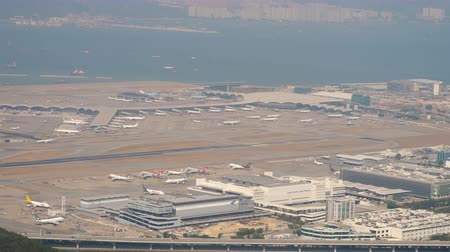 Aerial view at Chek Lap Kok airport from cable car cabin