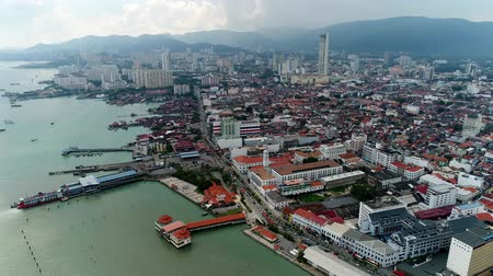 georgetown : Aerial view of the Georgetown jetty in Penang, Malaysia
