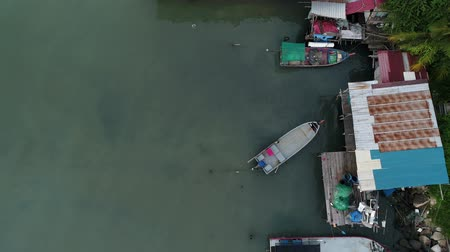 fishermen : Top down view of boats at Jelutong fishermans village, Penang Stock Footage