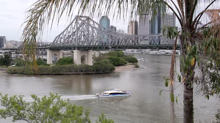 engineered : View of the iconic Story Bridge spanning the Brisbane River in Brisbane Queensland Australia.  Stock Footage