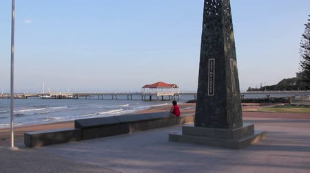 lest we forget : The war memorial in the park at the Redcliffe Jetty in Redcliffe Brisbane Australia at sunset.