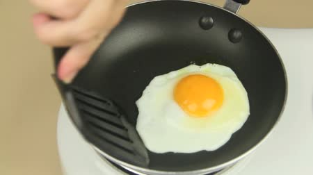 frigideira : Fried egg in frypan being moved around with a spatula.