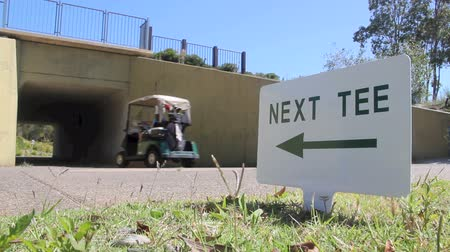 buggy car : A golf buggy is driven by a next tee sign going into a tunnel. Stock Footage
