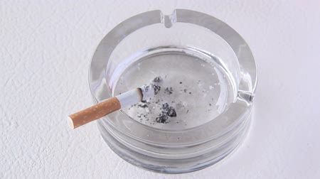 zararlı : Close up of a cigarette burning in a glass ashtray. Stok Video
