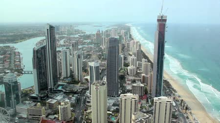uzun boylu : SURFERS PARADISE, AUSTRALIA - OCTOBER 5 2011: Aerial view of iconic Surfers Paradise. Surfers Paradise is Australias premier tourist destination and its most popular beach city. It was established by Jim Cavill in 1920 when he acquired 25 acres of land o