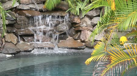 paisagístico : Water falling on rocks and slate in a poolside water feature. Stock Footage