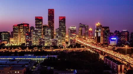 sunset city : Jianwai SOHO,the CBD skyline sunset in Beijing, China Stock Footage