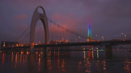 gyöngyszem : From day to night,Liede Bridge and Guangzhou Tower in Guangdong, China