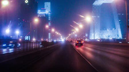 no traffic : The night view of the Third Ring Road in Beijing, China