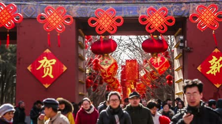 ditan : Beijing,China-Feb 2, 2014: The scene at the entrance of the temple fair at Ditan Park during Chinese Spring Festival in Beijing, China Stock Footage