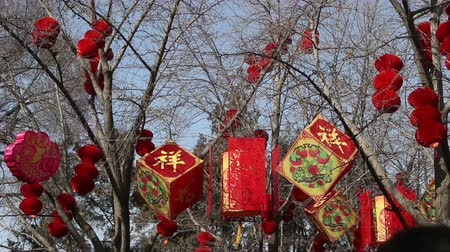 ditan : The hanging red lanterns and decorated stuff in the wind, Beijing Stock Footage