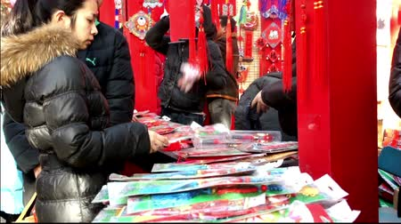 ditan : Beijing,China-Feb 2, 2014: The young woman and her boyfriend choose lucky decoration for new year at temple fair during Chinese Spring Festival in Beijing, China Stock Footage