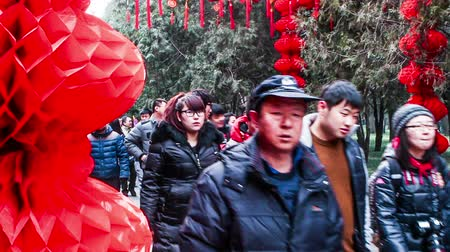 ditan : Beijing,China-Feb 6, 2014: People walk under the red lanterns at Ditan temple fair during Spring Festival in Beijing, China2